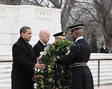 Barack Obama and Joe Biden at Tomb of the Unknown Soldier Photo Print for Sale