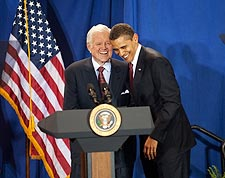 Barack Obama and Ted Kennedy at 2009 Event Photo Print for Sale