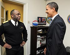 Barack Obama and U.S. Navy Rear Admiral Earl Gay Photo Print for Sale