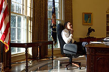 Barack Obama First Day in Oval Office Photo Print for Sale
