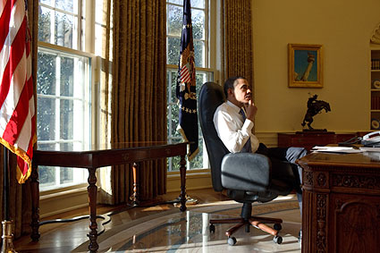 Barack Obama First Day in Oval Office Photo Print