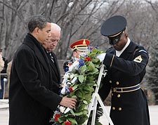 Barack Obama & Joe Biden at Arlington Cemetery 2009 Photo Print for Sale