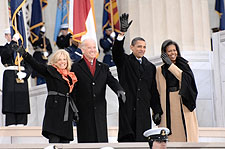 Obamas and Bidens at Inaugural Opening Ceremonies 2009 Photo Print for Sale