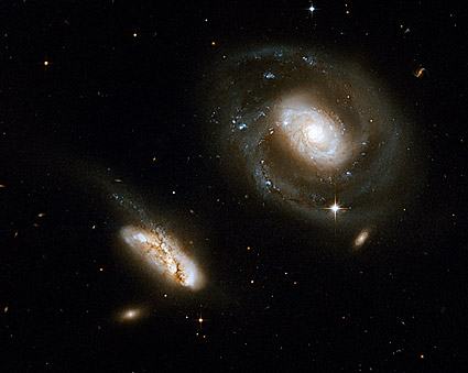Barred Spiral Interacting Galaxies Hubble Space Telescope Photo Print