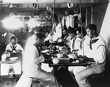 Battleship USS Olympia Sailors in Mess Hall Photo Print for Sale