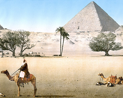 Bedouins & Grand Pyramid in Cairo, Egypt Photo Print