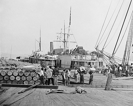 Black Slave Laborers Unloading Ships City Point, Virginia Photo Print
