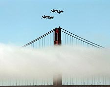Blue Angels Fly Over Golden Gate Bridge CA Photo Print for Sale