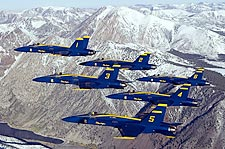 Blue Angels Flying in Formation Over Mountains Photo Print for Sale