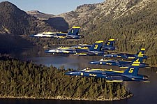 Blue Angels in Formation Over Mountain Lake Photo Print for Sale