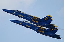 Blue Angels No. 5 and No. 6 Jets in Flight Photo Print for Sale