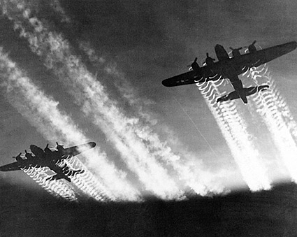 Boeing  B-17 Flying Fortress w/ Contrails Photo Print
