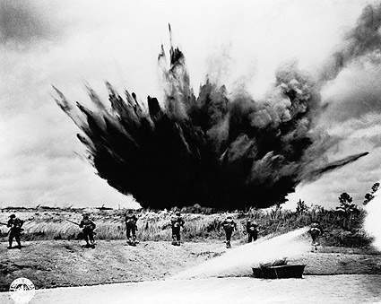 Bomb Exploding Near Troops WWII Photo Print