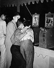 Boys Viewing Nude Penny Movie at Fair 1938 Photo Print for Sale