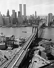 Brooklyn Bridge and Manhattan Skyline View 1978 Photo Print for Sale