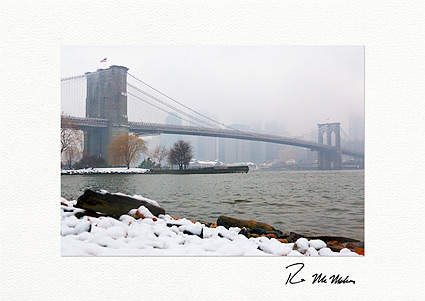 Brooklyn Bridge Winter New York City Individual Christmas Cards