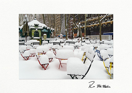 Bryant Park Snow Covered Chairs NYC Individual Christmas Cards