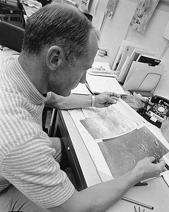 Buzz Aldrin Inspects Lunar Maps Photo Print