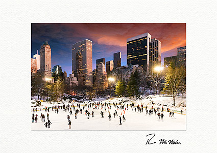 Central Park Wollman Sunset Ice Skating Individual Christmas Cards