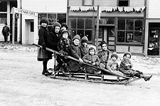 Children & Sleigh Early 1900s Seward Alaska Photo Print for Sale