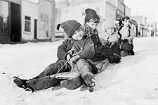 Children Sleigh Riding Early 1900s Alaska Photo Print for Sale