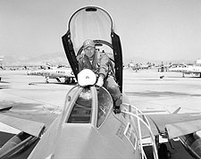 Chuck Yeager in F-100 Portrait Photo Print for Sale