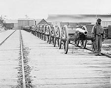 Civil War Cannons Guarded By Black Soldier Photo Print for Sale