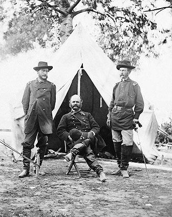 Civil War General Ambrose Burnside in Camp Photo Print