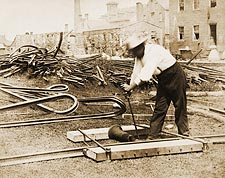 Civil War Railroad Worker Repairing Track Photo Print for Sale