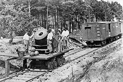 Civil War Soldiers with Cannon on Railroad Photo Print
