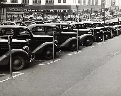 Classic Cars Parked Next to Meters 1930s  Photo Print