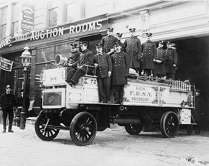 Classic FDNY Firefighters on Fire Engine Photo Print