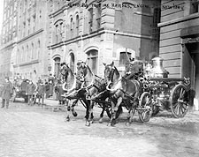 Classic Firefighter Horse Drawn Fire Engine NYC 1915 Photo Print for Sale