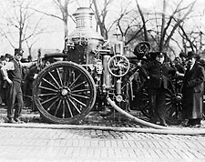 Classic Firefighters w/ Early Fire Engine Photo Print for Sale