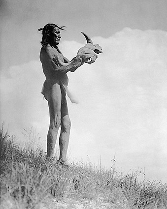 Dakota Man Buffalo Skull Edward S. Curtis Photo Print
