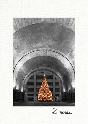DUMBO Brooklyn Christmas Tree Under Arch Personalized Christmas Cards