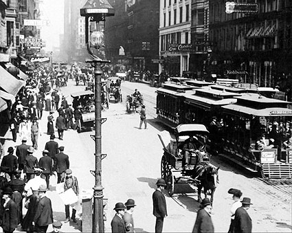 Early State Street Carriages, Chicago 1905 Photo Print