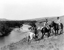 Edward S. Curtis Piegan Indians on Horses Photo Print for Sale