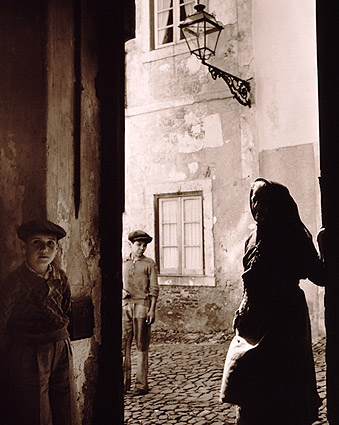 Elderly Woman and Children in Lisbon, Portugal 1940s Photo Print