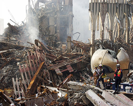 Emergency Workers and The Sphere Ground Zero 9/11 Photo Print