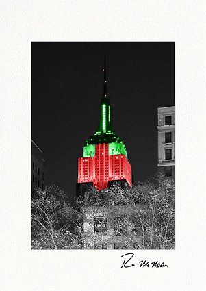 Empire State Building Holiday Colors Individual Christmas Cards