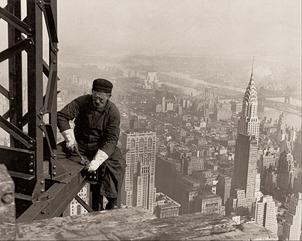 Empire State Building Worker Lewis Hine Toned Photo Print