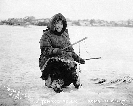 Eskimo Ice Fishing in Nome, Alaska Photo Print