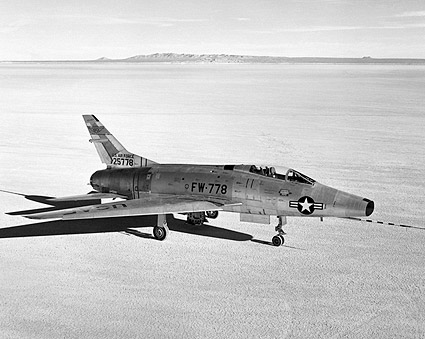 F-100 Super Sabre on Lakebed Photo Print