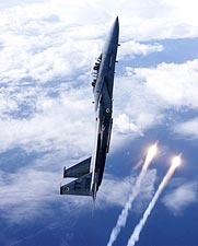 F-15D / F-15 Eagle Aircraft Vertical Flares Photo Print for Sale