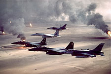 F-16 & F-15 Fighters Desert Storm Oil Field Photo Print for Sale