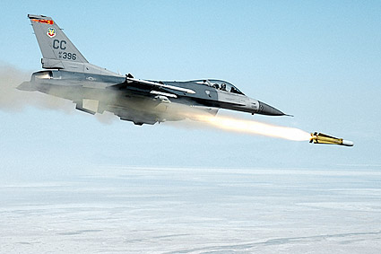 F-16 Fighting Falcon Fighter Fires Missile Photo Print