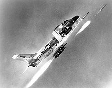 F-86 Sabre Jet Firing Rockets Photo Print for Sale