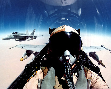 F/A-18 View of Pilot in Cockpit F-18 Photo Print