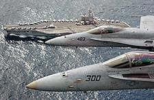 F/A-18C Hornets Above USS Ronald Reagan  Photo Print for Sale